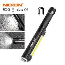 NICRON アルミスリムワークライトランプ IPX4 防水スポット/COB LED 懐中電灯 500LM 強力な磁石 3 * 単四電池メンテナンスなど