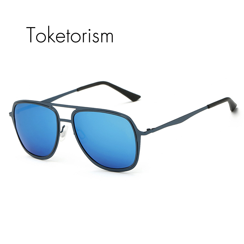 Toketorism stainless steel sunglasses men font b polarized b font Coating Mirror women high font b