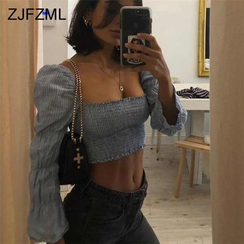 Elegant Long Sleeve Pleated T Shirt Women Flare Sleeve Square Neck Striped Causal Crop Top Ladies Skinny Shirts Spring 2019