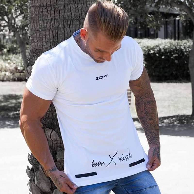 2018 New Mens Short Sleeve Cotton T-shirt Gyms Fitness Workout T Shirt Male Summer Casual Print O-Neck Slim Tees Tops Clothing