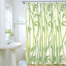 180 x 180cm Bamboo Forest Waterproof Fabric Bathroom Shower Curtain With 12pcs Curtain Hooks Rings Free Shipping