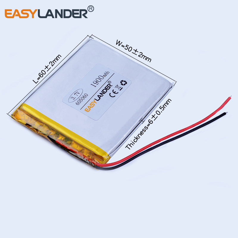 605060 3.7V 1900mAh Rechargeable li Polymer Li-ion Battery For MP3 MP4 gaming Mouse PSP DVR GPS Lampe speaker toys 604959 065060