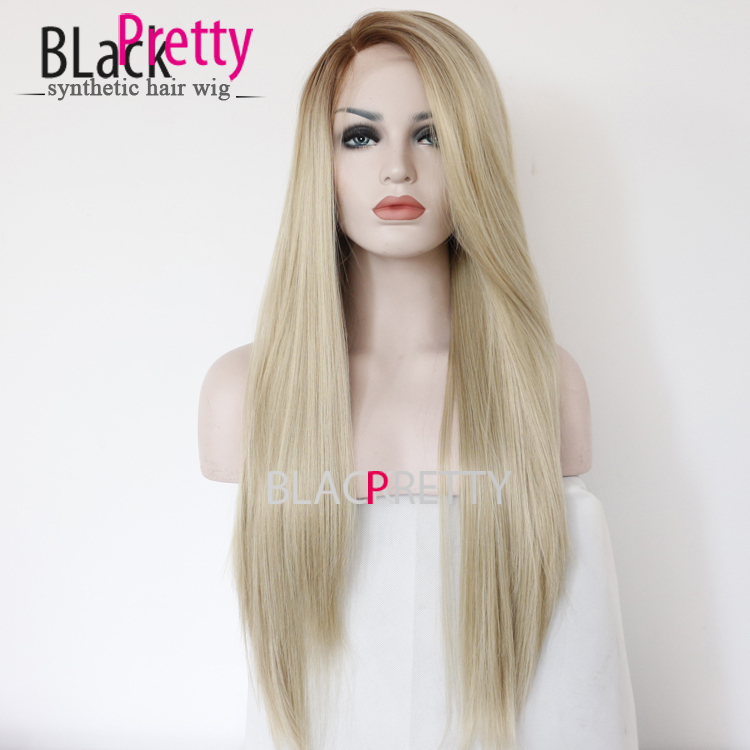 Fashion Long Ombre Blonde Straight Hair Wig Dark Root Straight Kanekalon  Synthetic Natural Ombre Blond Lace Front Wig For Women 0f815130a