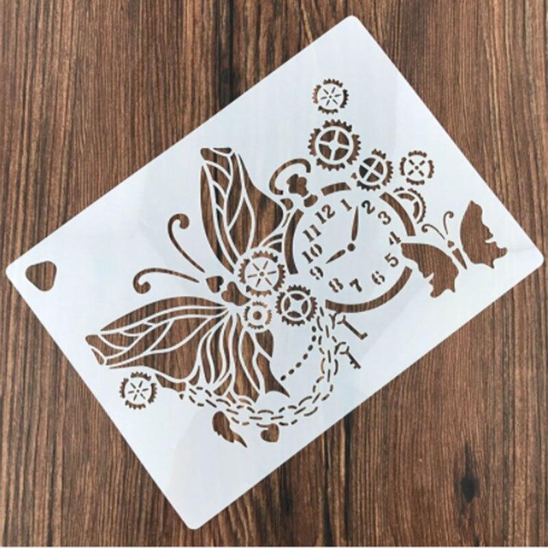 1PC European Classical Gear Clock Butterfly Reusable Stencil Airbrush Painting Art DIY Home Decor Scrap Booking Album Crafts