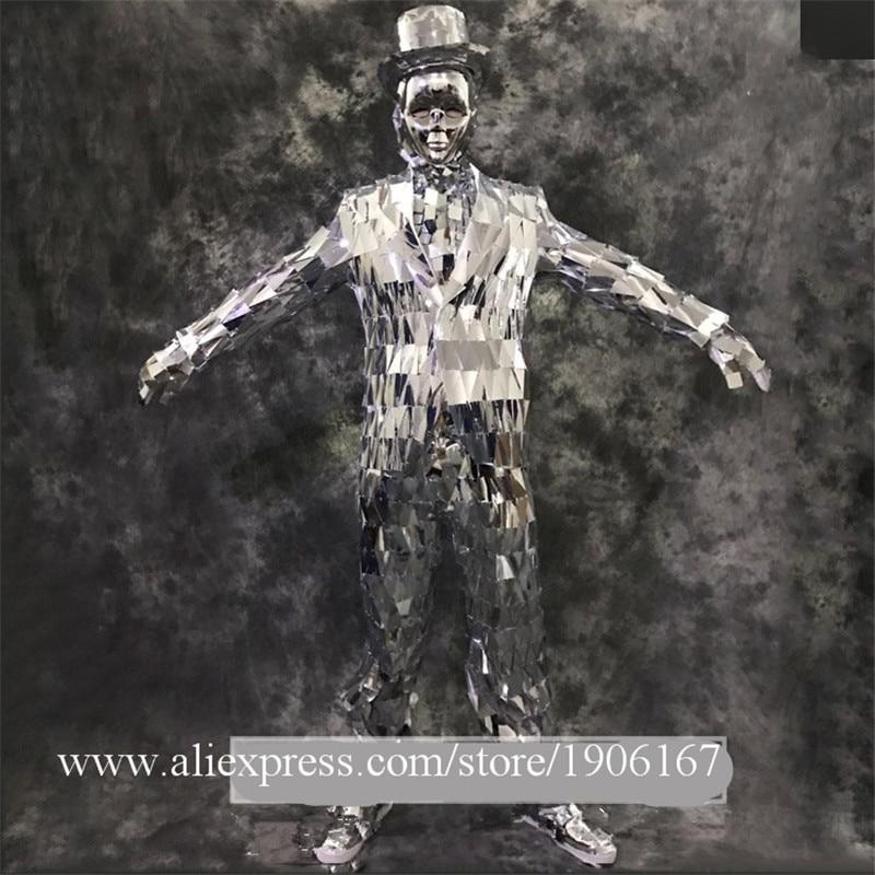 Для мужчин Серебряный Цвет дефиле этап одежда Ballrooom костюм зеркало Костюмы вечерние Рождество производительности DJ певица одежда костюм