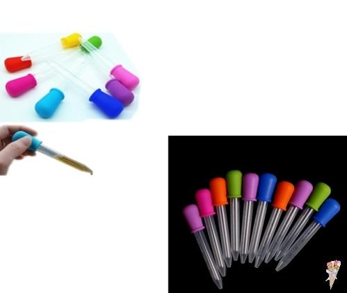 5ML Clear Silicone Plastic Baby Medicine Dropper Spoon Pipette Liquid Food Dropper Burette  12cm*2cm Random Color