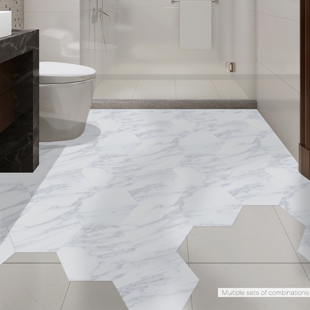 Funlife Waterproof Bathroom Floor Tile Sticker Adhesive PVC Marble Floor Decal Peel&Stick Sticker Non-Slip Home Entrance Decor