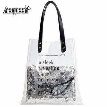 AEQUEEN Women Transparent Handbag Woman Shoulder Bag Clear PVC Jelly Bag Shining Sequins Composite Bag Female Lady Totes Clutch алиэкспресс сумка прозрачная