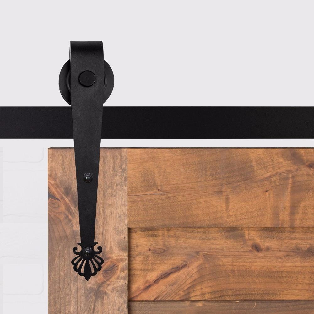 LWZH 14ft/15ft Black Modern Steel Rustic Style Crown Shaped Sliding Wood Sliding Barn Door Track Hardware Set for Single Door