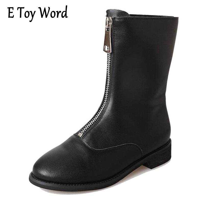 E TOY WORD Spring Autumn Women New Fashion Round head Front zipper low heel boots Black Martin shoes Waterproof shoes X86 e toy word canvas shoes women han edition 2017 spring cowboy increased thick soles casual shoes female side zip jeans blue 35 40
