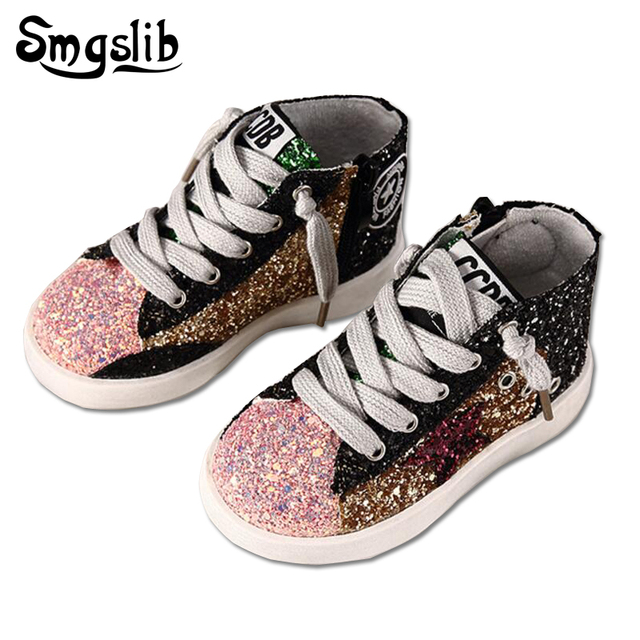 Smgslib Children Shoes Girls Glitter High Top Girls Sneakers Children  Sequins Boots For Girls Boys Casual Shiny Stars Soft Shoes fdf66c8db06d