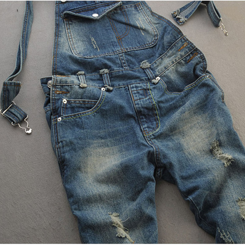 MenS Plus Size Jeans Overalls Large Size Huge Denim Bib Pants Fashion Pocket Jumpsuits Male 4Xl 5Xl 3Xl