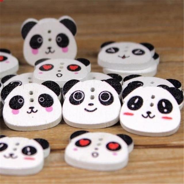 Doreenbeads pintura Linda Panda cabeza Botón de baquelita 2 agujeros ...