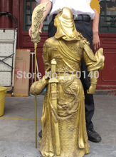 K@@AA@39 China famous Brass Copper Dragon Hold Sword Guan Gong Guan Yu warrior Statue