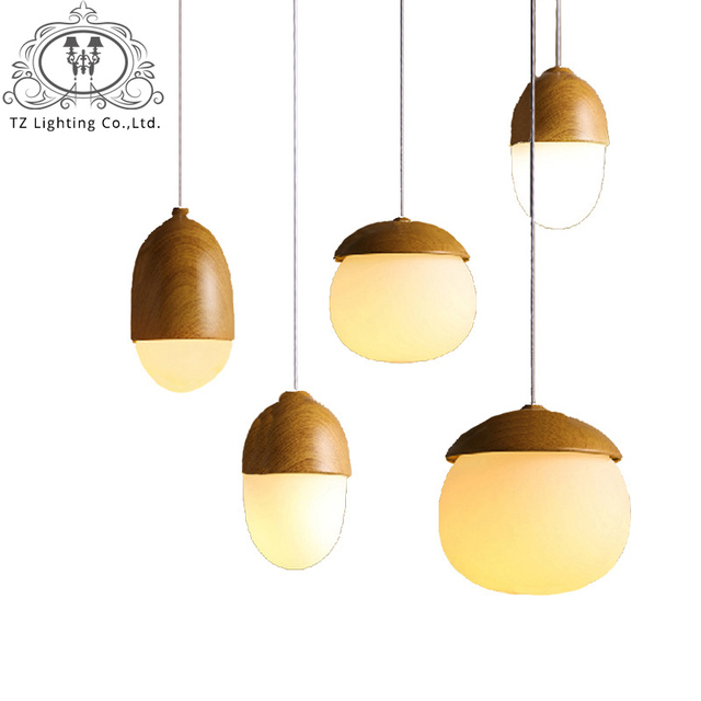 Tz modern mushroom wood pendant lights vintage cord pendant lamp hanging light fixture black e27 bulb