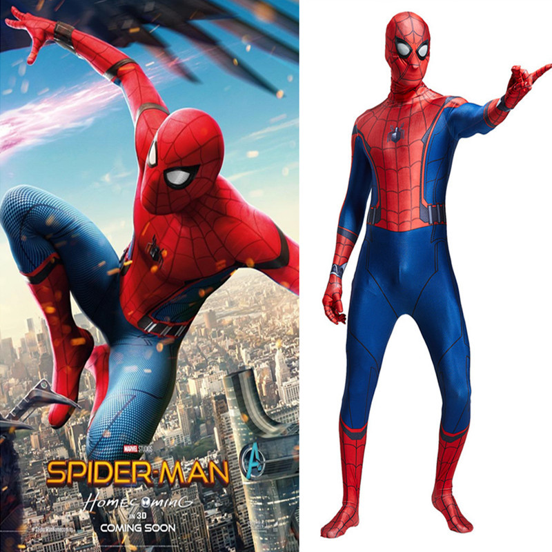 Spider-Man: Homecoming Spider Man costume jumpsuits Peter Parker spider costume with seperated head piece