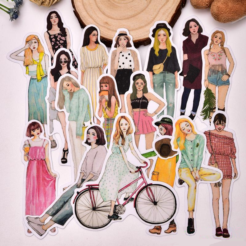 17pcs Creative Cute Self-made Daily Cool Girls Scrapbooking Stickers /decorative Sticker /DIY Craft Photo Albums/trunk Sticker