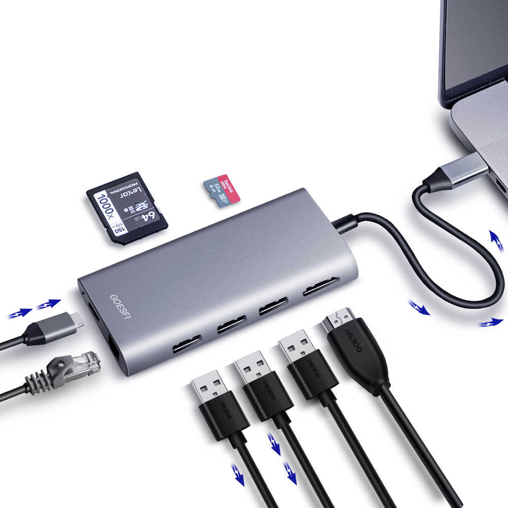 Usb C HUB HDMI Adaptor untuk MacBook Pro/Air 2018 HP Dell XPS Inspiron Garis Lintang Lenovo ThinkPad Acer ASUS Dock