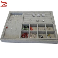 Freeshipping Grey Velvet Jewelry Ring Earring Organizer Tray Beads Collection Necklace Storage Tray 4Pcs Set 35