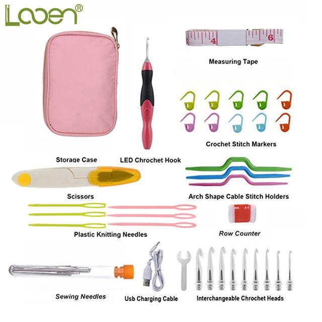 Looen Rechargeable Led Crochet Hook Set 25mm 65mm Heads Scissors