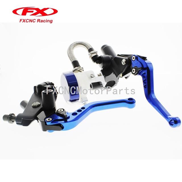 Blue Universal 7 8 CNC Brake Levers Master Cylinder Reservoir Clutch For Yamaha WR125X