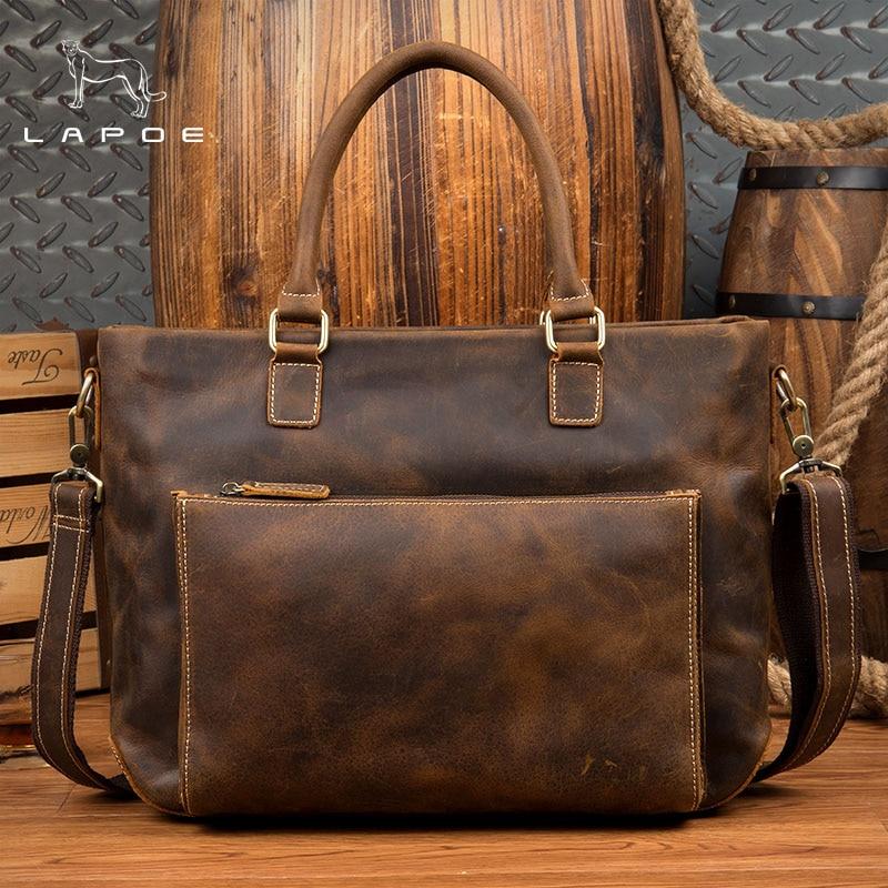 LAPOE intage Crazy Horse genuine leather men handbags brand fashion men's business briefcase bag big capacity men laptop bag