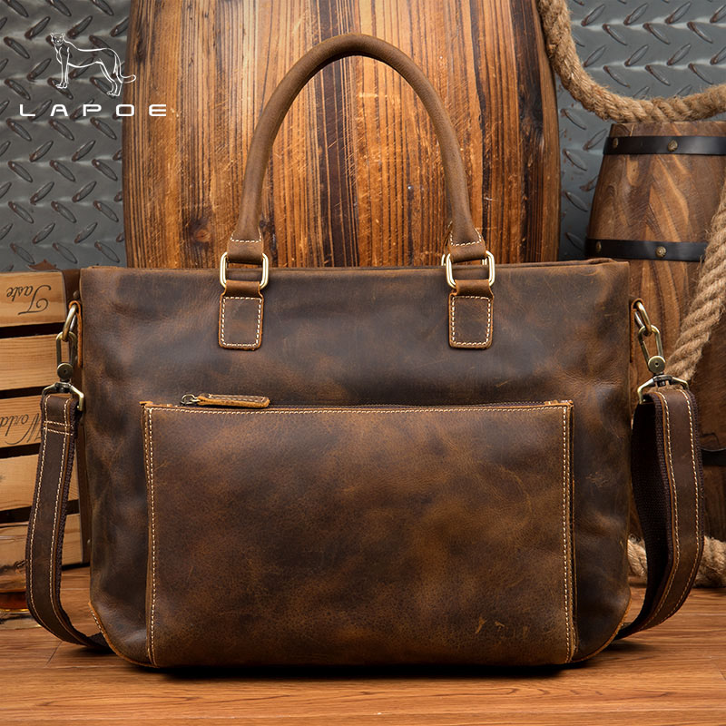 цена на LAPOE intage Crazy Horse genuine leather men handbags brand fashion men's business briefcase bag big capacity men laptop bag