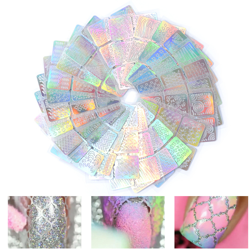 24 Sheets/set DIY Nail Art Hollow 3D Laser Sticker Stencil Gel Polish Nail Vinyl Tip Transfer Guide Template Nail Decals 3d 12 candy colors glass fragments shape nail art sequins decals diy beauty salon tip free shipping