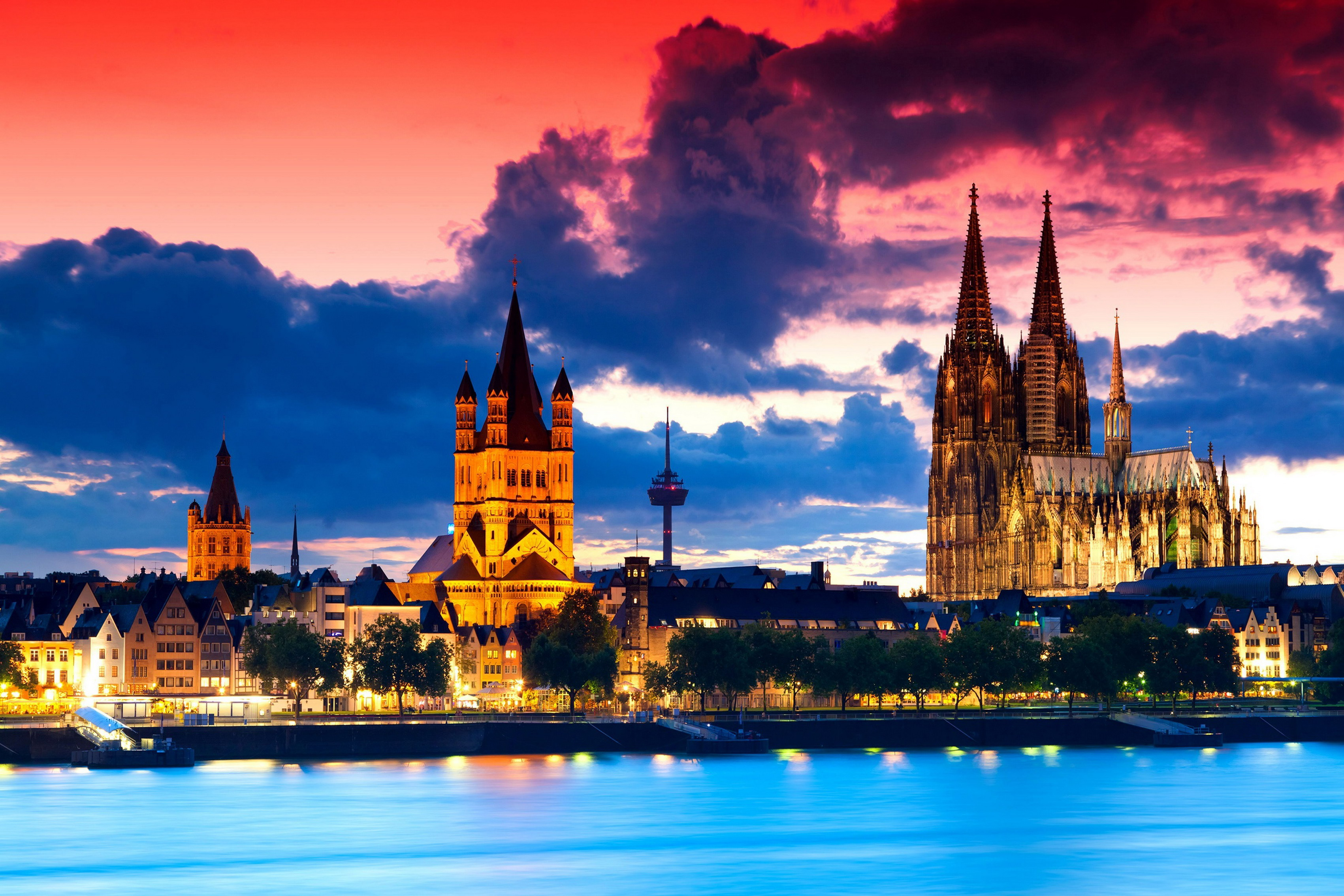 Home decoration Gothic cathedral in Cologne Germany ity night river clouds Silk Fabric Poster Print 186FJ poster print silk fabric posterfabric posters - AliExpress