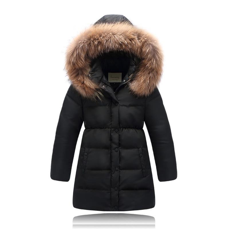 Children Winter Down Jacket For Girls Natural Fur Warm Thick Girls ...