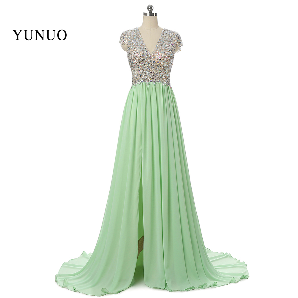 Real Pic Custom Made New Arrival 2016 Mint Evening Dress Long A-Line Open Slit Sexy Backless Chiffon with Bling Crystals x3112