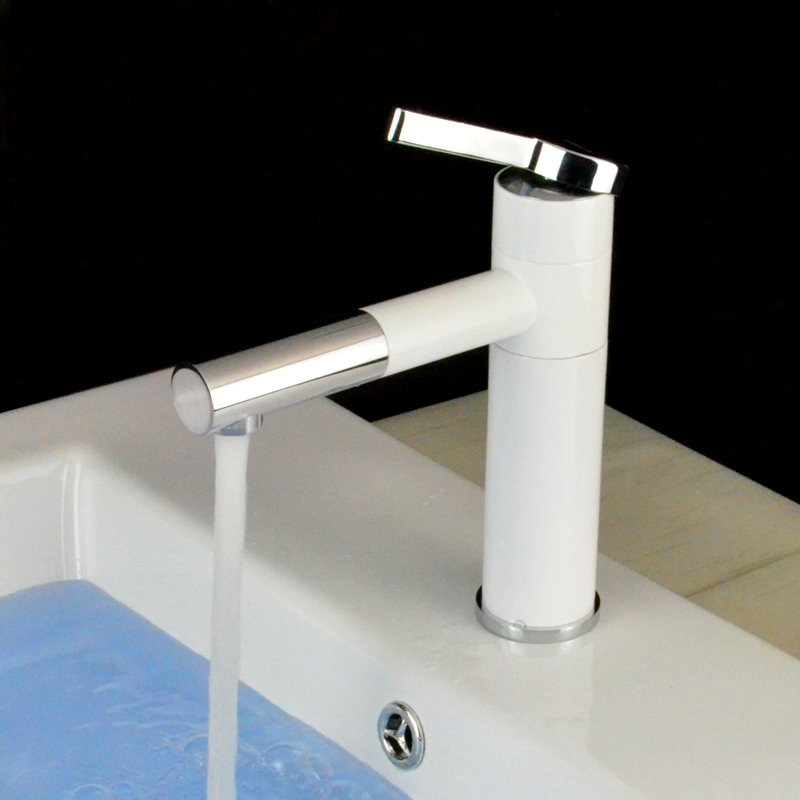 Basin Faucets Grilled White Porcelain Body Rotation Spout Brass ...