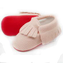 Handmade Soft red Bottom Fashion Tassels Baby Moccasin Newborn Baby Shoes 12-colors PU leather andador Prewalkers Boots(Chile)