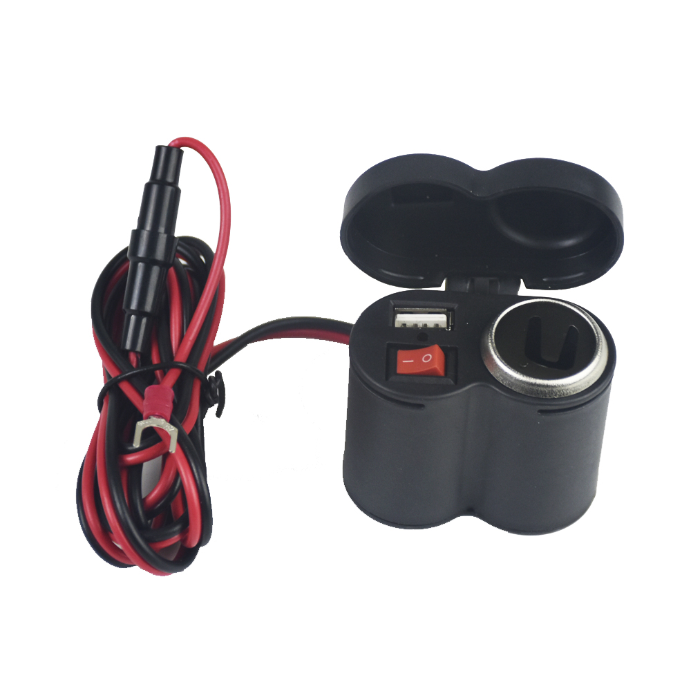 12-24V Motorcycle Scooter Handlebar USB Charger Clamp Waterproof USB Cigarette Light ME3L