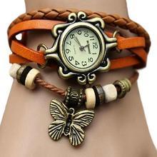 Womens Retro Faux Leather Bracelet Butterfly Decoration Quar