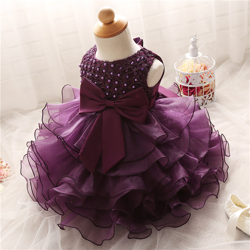 New Kids Dresses For Girls Beads Party Purple Gown Baby Girl Lace
