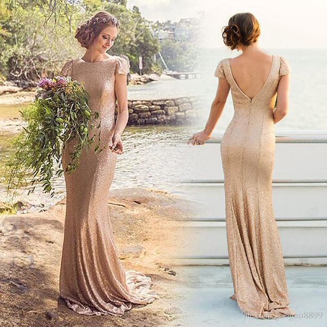 Sequined Formal Evening Dresses with Short Sleeves Backless Mermaid Rose  Gold Long women dresses Party Gowns F249 994b0a0a18af