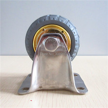 1 pcs 4 inch casters with stainless steel caster rubber trolley castor wheel