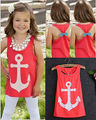 2015 new hot Baby Girls Summer Anchor shirts Kids Sleeveless shirt back bow children's clothes