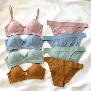 Image 1 - Cotton bra set comfortable underwear wireless ladies hollow out sexy bra and panty set stripe pure color lingerie fashion pantie