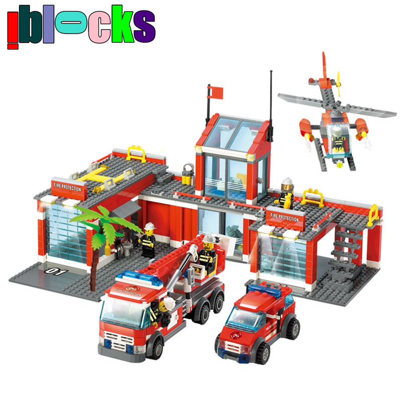 ФОТО IBLOCKS City Large Fire Station Firemen Figures Fire Engines Helicopter Educational Blocks Model Building Toys For Children