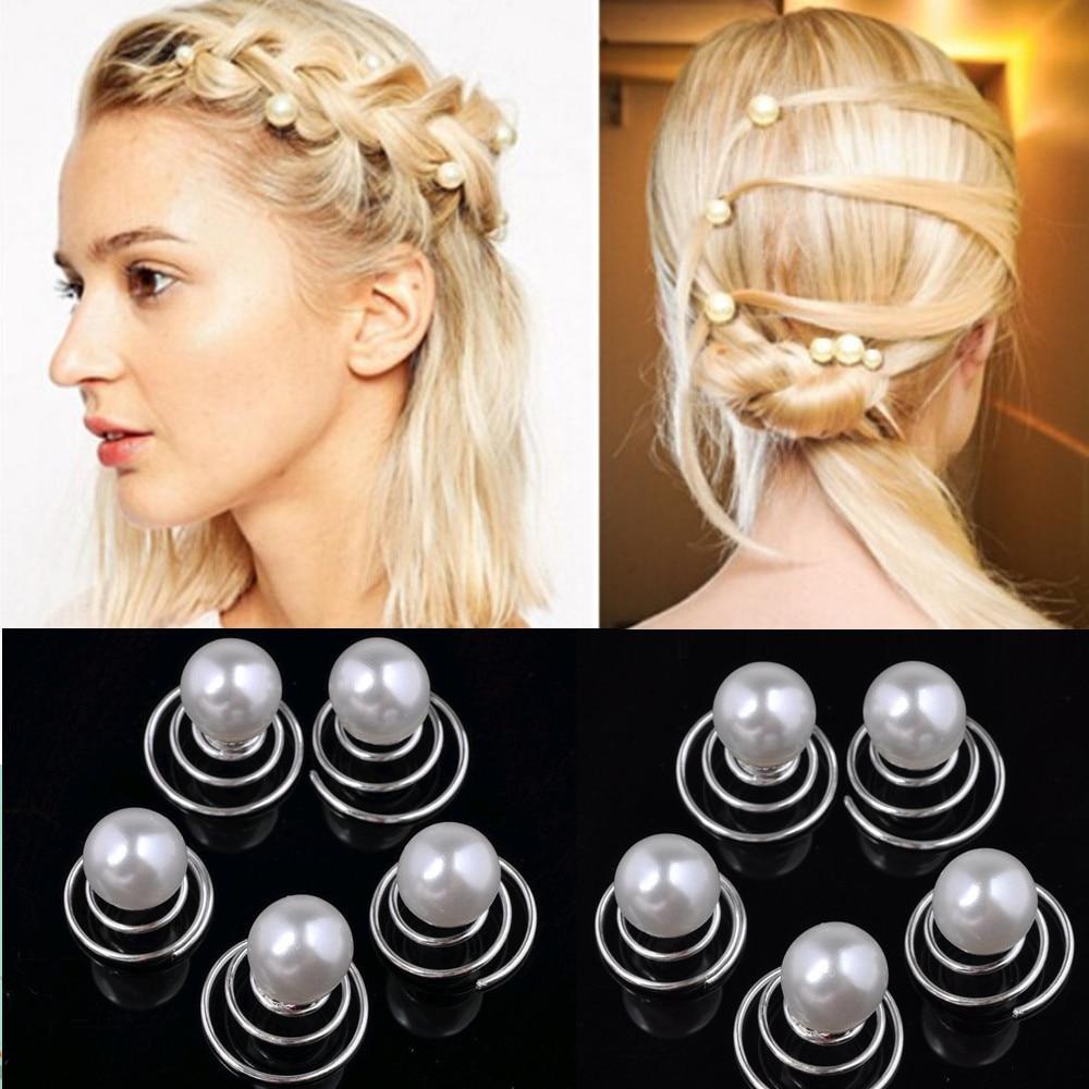 12pcs/lot wedding bridal pearl hair bobby pins spiral spin screw
