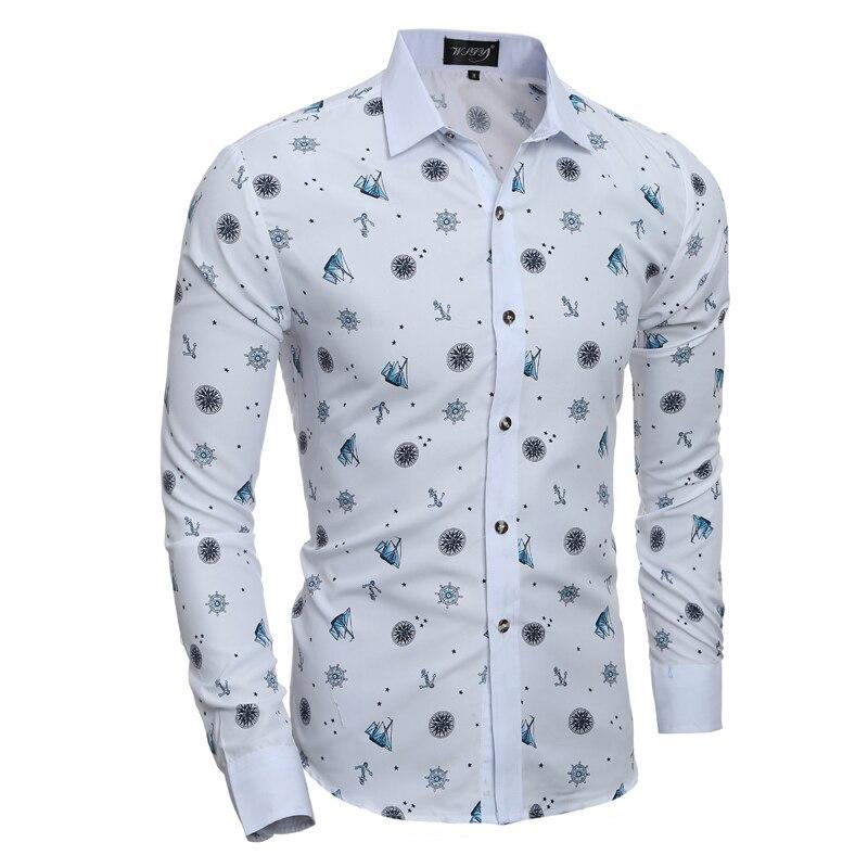 2018 New Slim Shirt Mens Brand White Print Fashion Shirt Mens Dress Long Sleeve Casual B ...