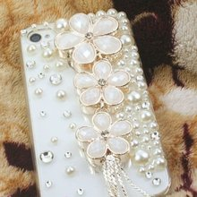 Handmade Luxury Designer Bling Colorful Special Crystal Pearl Flower Cheery Case Cover For iPhone4S 5S 5C 6/6Plus 7/7Plus case