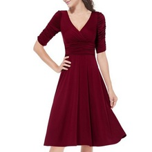 Sexy Women Vestidos Party Dresses Winter Autumn Dress Beauty 3/4 Sleeve Ruched Waist Classy V-Neck Large Size Dress New Year
