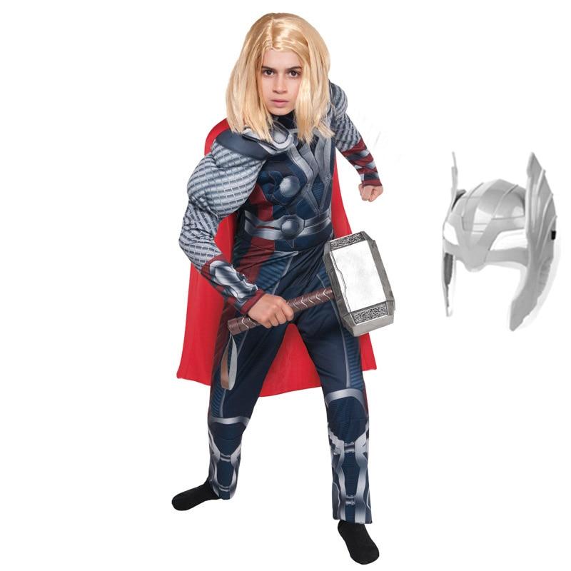 Карнавальный костюм Тора из фильма «супергерой» для мальчиков; Вечерние костюмы супергероя для Хэллоуина; Детский костюм супергероя