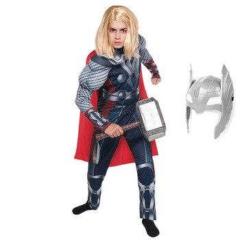 Película vengadores juego final traje de Thor niños Halloween Super héroe fiesta disfraces niños Super héroe Cosplay mono