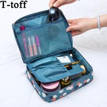 Kobiety makijaż torba kosmetyczka sprawa make up Organizer toaletowe Storage niezbędnik Pośpieszony kwiatowy nylonowy zamek błyskawiczny nowy pokrowiec podróżny tanie tanio Futerały kosmetyczne T-Toff 21cm HGN-SSD36D3 16 cm Moda Pole 120g