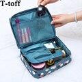 Las mujeres maquillaje bolsa de cosméticos caso organizador de almacenamiento de artículos de tocador Neceser corriendo Floral de Nylon de la cremallera de viaje lave la bolsa
