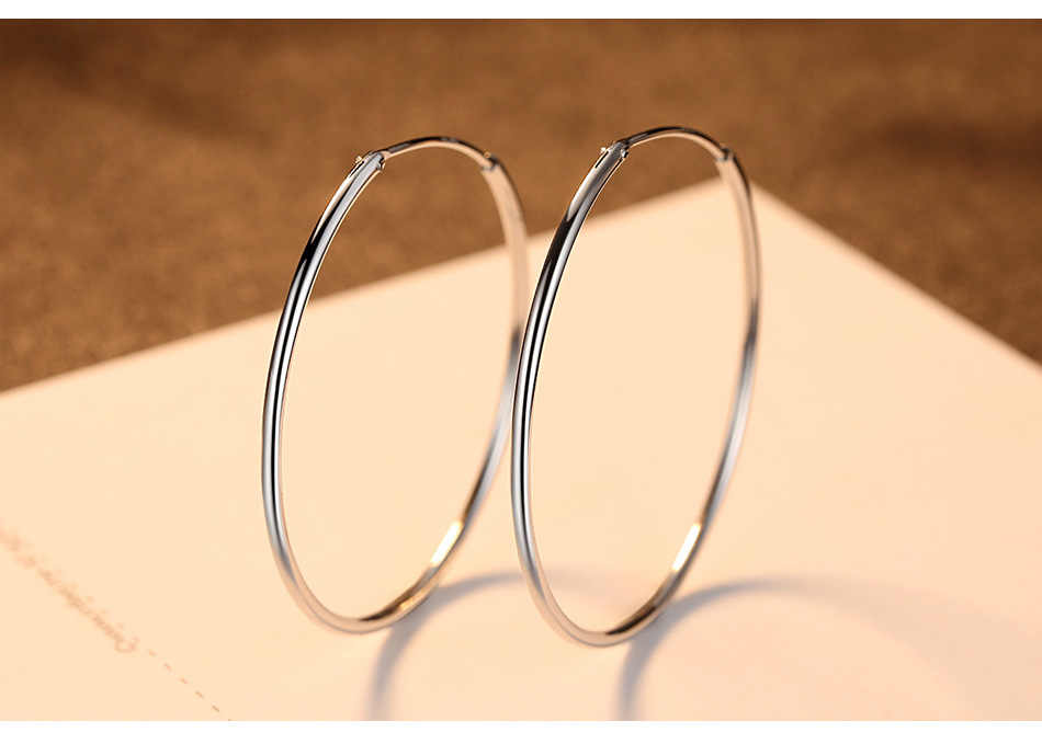 d3796e2dd ... Women Silver Hoop Earrings Large Big Round Circle 925 Silver Hoops  Creole Fashion Jewelry 50MM 60MM ...